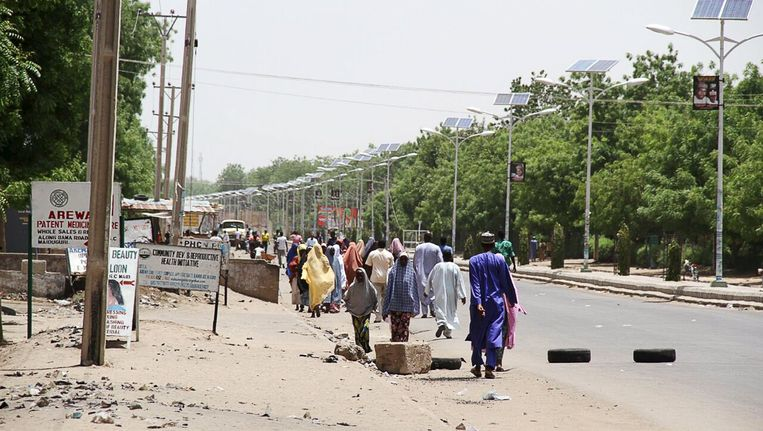 Vluchtelingen in Maiduguri in Nigeria. Beeld REUTERS