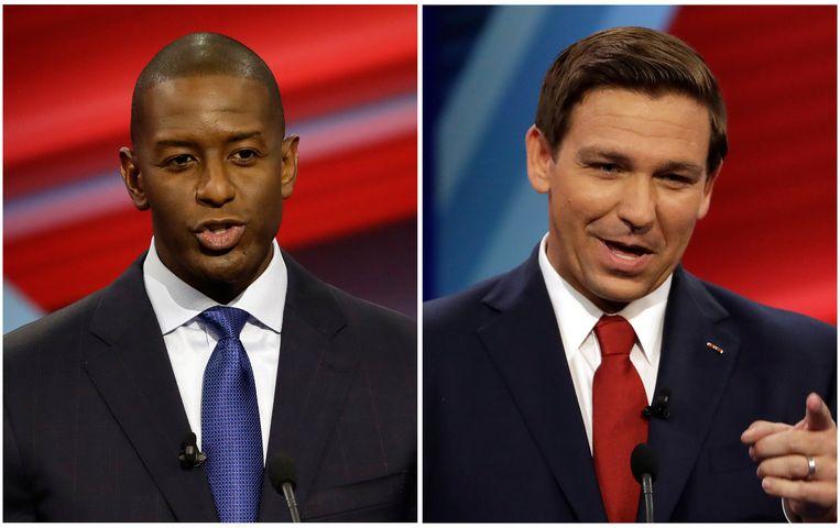 Ron DeSantis kwam bovendrijven als kandidaat voor de Republikeinen, met steun van president Donald Trump. Aan Democratische zijde won de linkse outsider Andrew Gillum. Beeld AP
