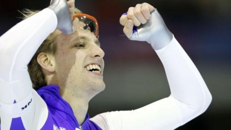 Ronald Mulder viert zijn overwinning op de 500 meter. ANP Beeld