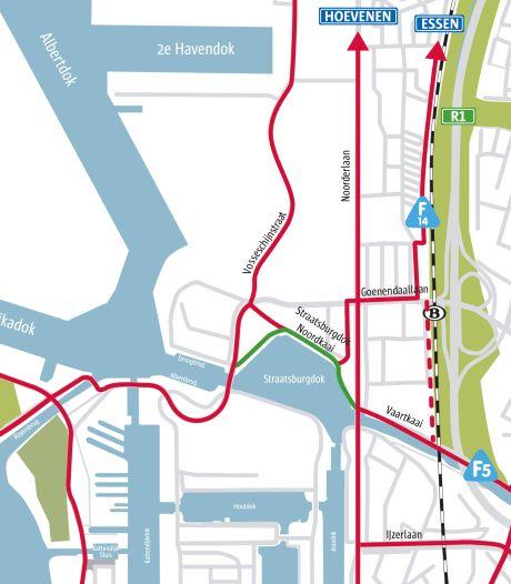 Tijdelijk fietspad langs Straatsburgdok-Noordkaai is klaar