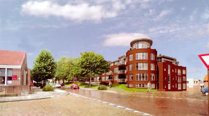 Artist's impression: Voor de Bult van Pars in Klundert zijn in de loop der jaren meerdere plannen gemaakt. De eerste tien jaar was er altijd horeca bij betrokken. Dit was het plan van voormalig eigenaar Zeeman Vastgoed: appartementen.