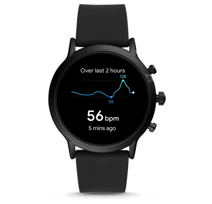 Fossil Gen 5 The Carlyle HR Black Silicone.