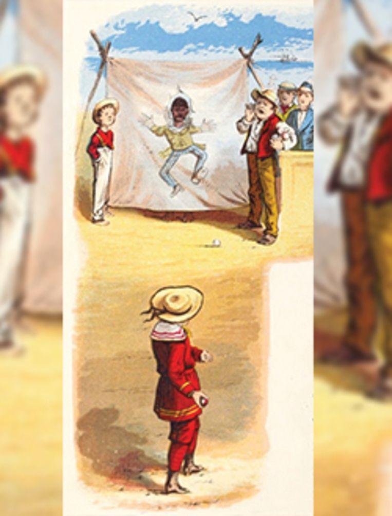 Een plaatje van een zwarte jongen als doelwit bij een balspel. Beeld Jim Crow Museum