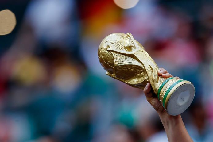 Een fan met een replica van de WK-trofee.
