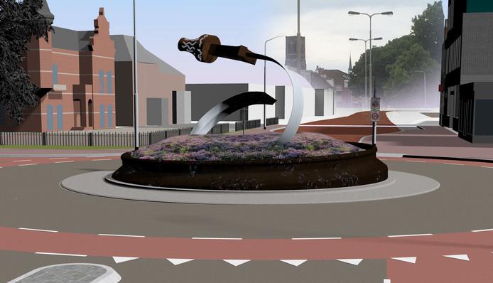 Schetsontwerp van de nieuwe rotonde voor Museum Jan Cunen aan de Molenstraat in Oss.