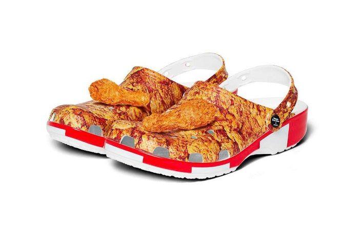 Lancement d'une collection de chaussures Crocs en partenariat avec KFC.
