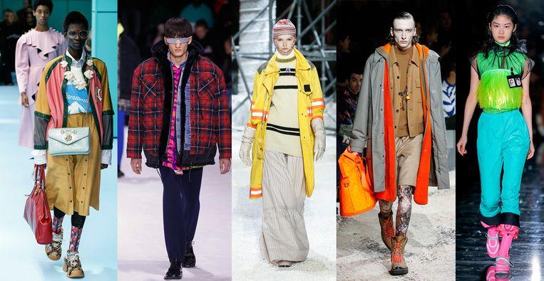Van links naar rechts: Gucci, Balenciaga, Calvin Klein, Louis Vuitton en Prada. Beeld Team Peter Stigter