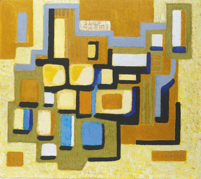 Piet Smissaert, Compositie in blauw, groen en geel, 1956.