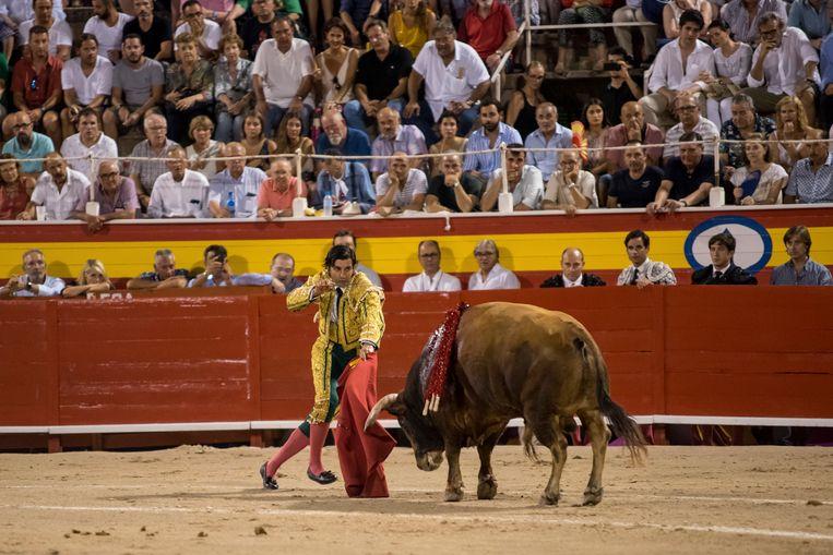 Stierenvechter Morante de la Puebla aan het werk in de arena op Mallorca, gisteravond.