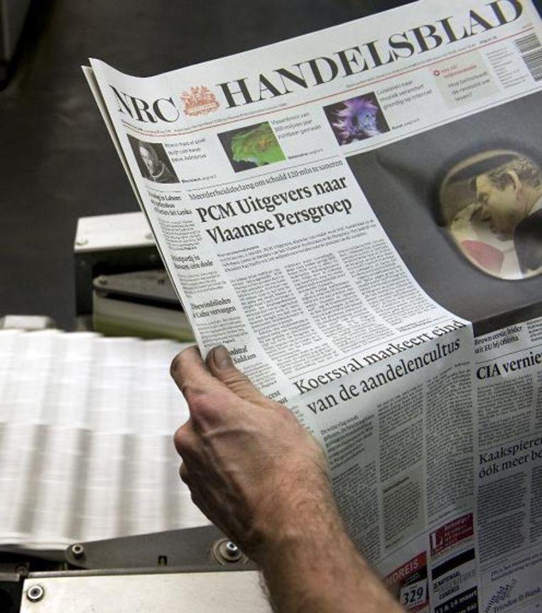 Het nieuws dat de verkoop van NRC Media in gang zette. Vijf grote Nederlandse krantentitels (Naast NRC ook Trouw, de Volkskrant, AD en Het Parool) in één hand was te veel van het goede. (ANP) Beeld