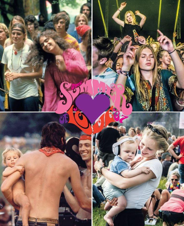 Woodstock 1969 (linksboven en linksonder), Down The Rabbithole 2016 (rechtsboven) en Best Kept Secret 2017 (rechtsonder). Beeld Getty en Koen Verheijden