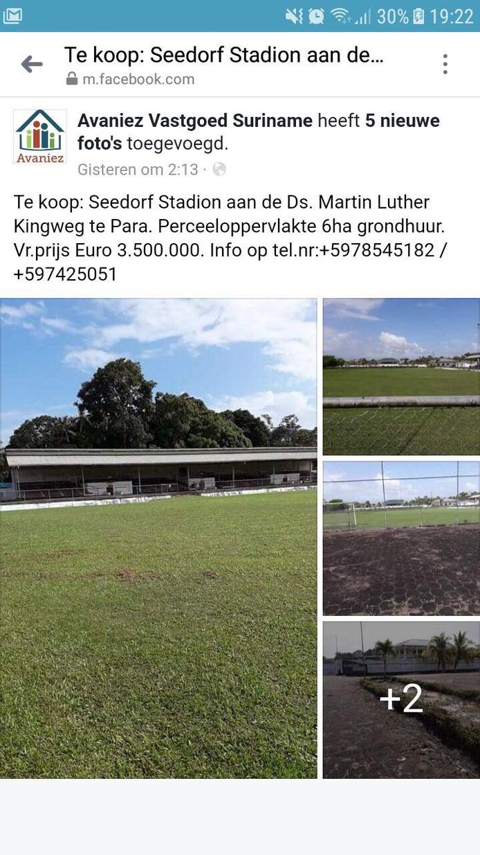 De advertentie waarin het stadion te koop wordt aangeboden.
