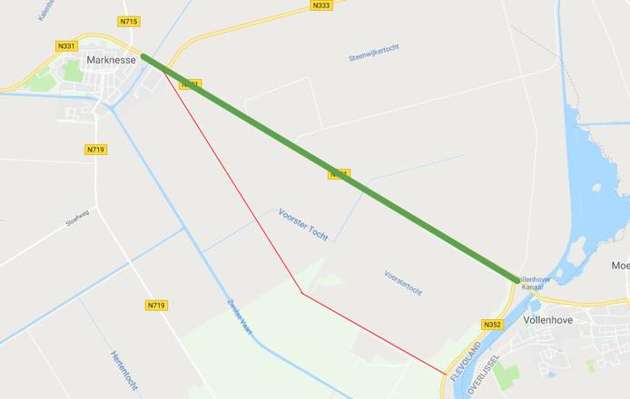 Sluipverkeer Voorsterweg. Groen is de 'juiste' route, rood wordt nu veel gebruikt.