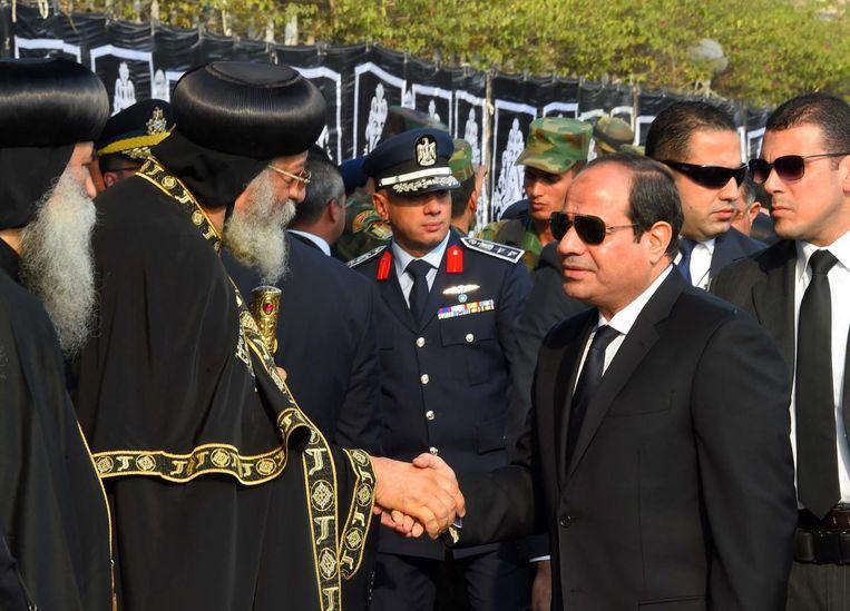 President Abdek Fatha Al-Sisi en Koptische Paus Tawadros II. Beeld AFP
