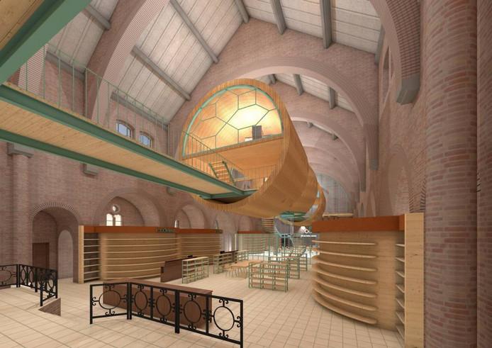 Illustratie inrichting kerk Deest zoals voorgesteld door architect Frank Marcus.