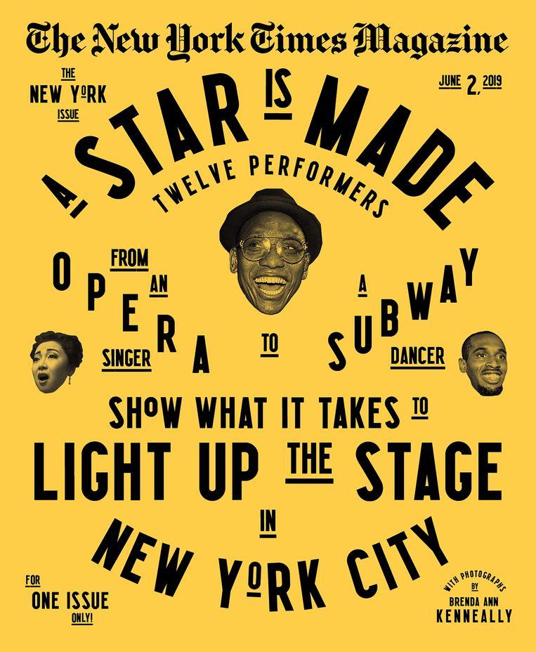 De typografische cover van 2 juni, over performers in New York. Beeld New York Times Magazine
