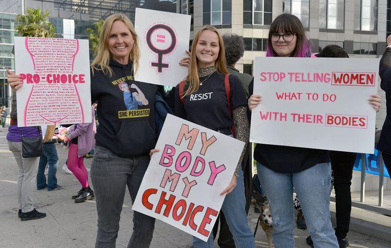 Abortusactivisten tijdens een betoging in Californië op 21 mei 2019.