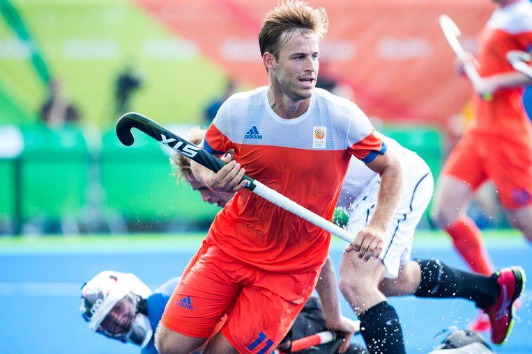 Jeroen Hertzberger tijdens de poulewedstrijd tussen Nederland en Canada tijdens de Olympische Spelen in 2016. Beeld ANP