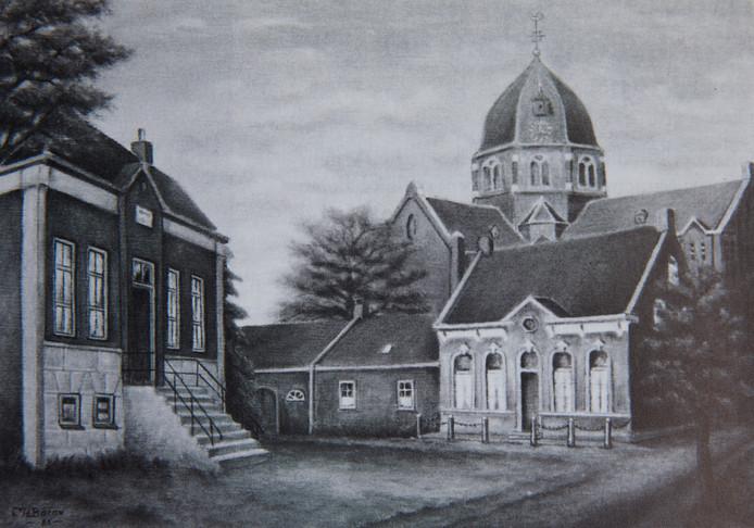 Links het voormalige raadhuis van de gemeente Hoogeloon c.a. In het midden de oude pastorie met links het koetshuis en daarachter de Pancratiuskerk.