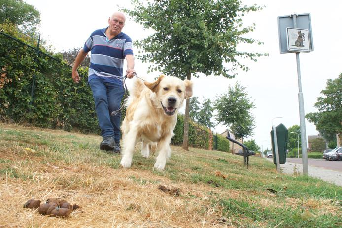 """Gert van Beek laat een van zijn golden retrievers uit op het hondenveldje aan De Kist in Elst. ,,Hier ligt om de 10 centimeter wel een drol."""""""