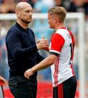 Jaap Stam en Sam Larsson na het gelijkspel tegen Sparta.