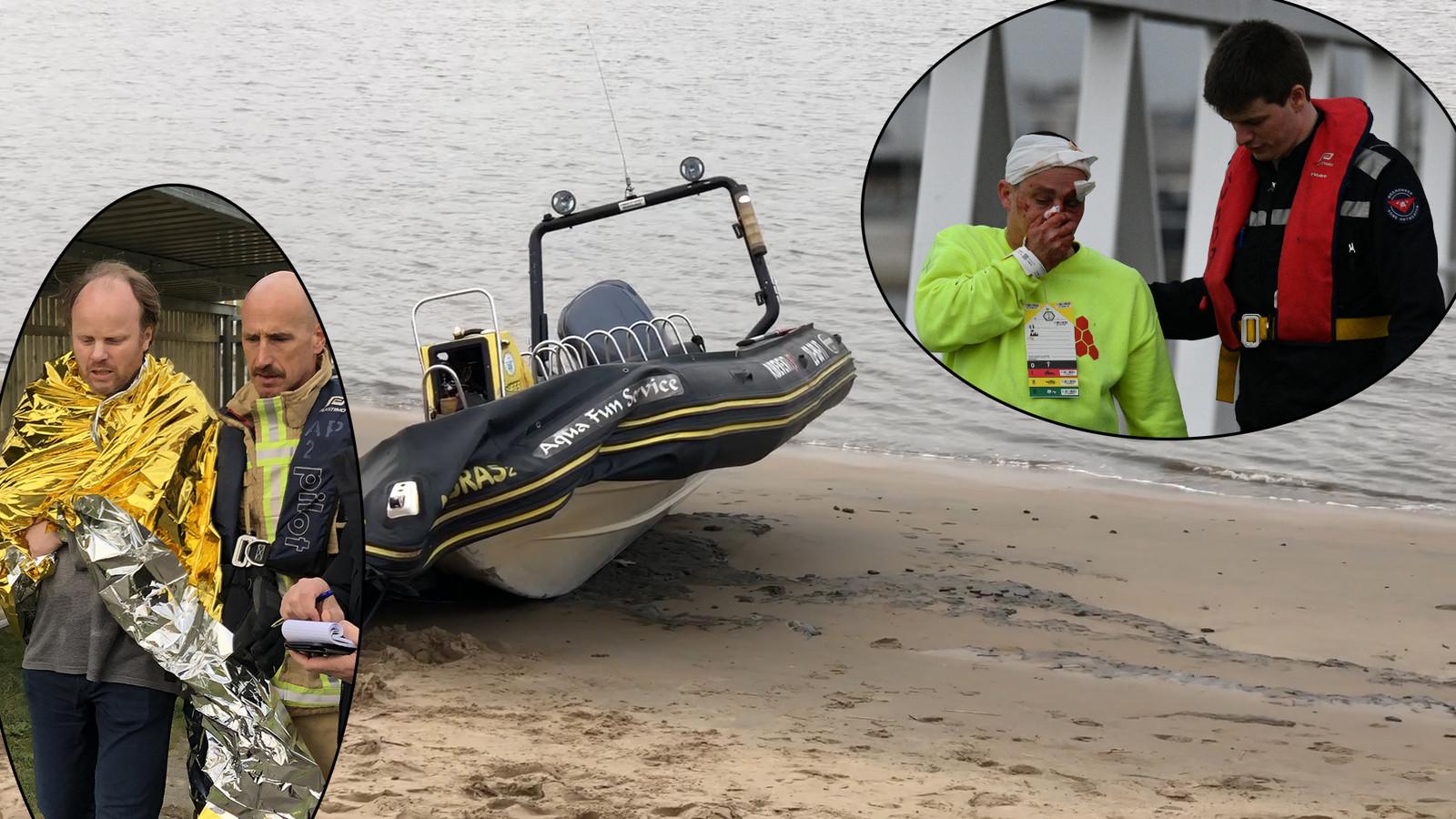 Een van de twee bootjes waarmee het ongeval gebeurde met gewonden die medische bijstand krijgen.