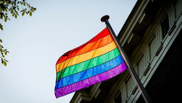 Demonstranten worden opgeroepen een regenboogvlag mee te nemen Beeld anp