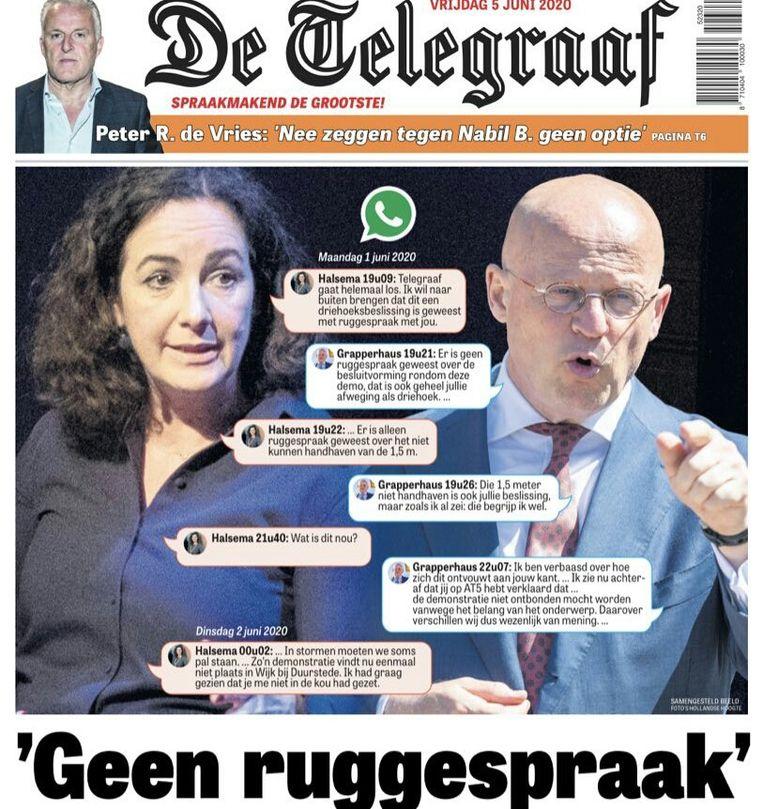 De voorpagina van De Telegraaf, op de dag nadat de berichten tussen Halsema en Grapperhaus zijn geopenbaard. Beeld