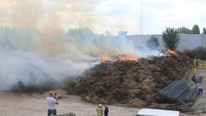 Enorme rookpluim door twee grote compostbranden