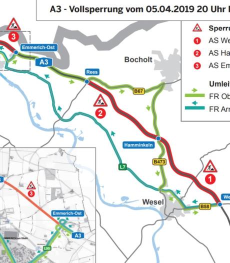 A3 tussen Emmerik en Wesel eerste weekend van april grotendeels dicht