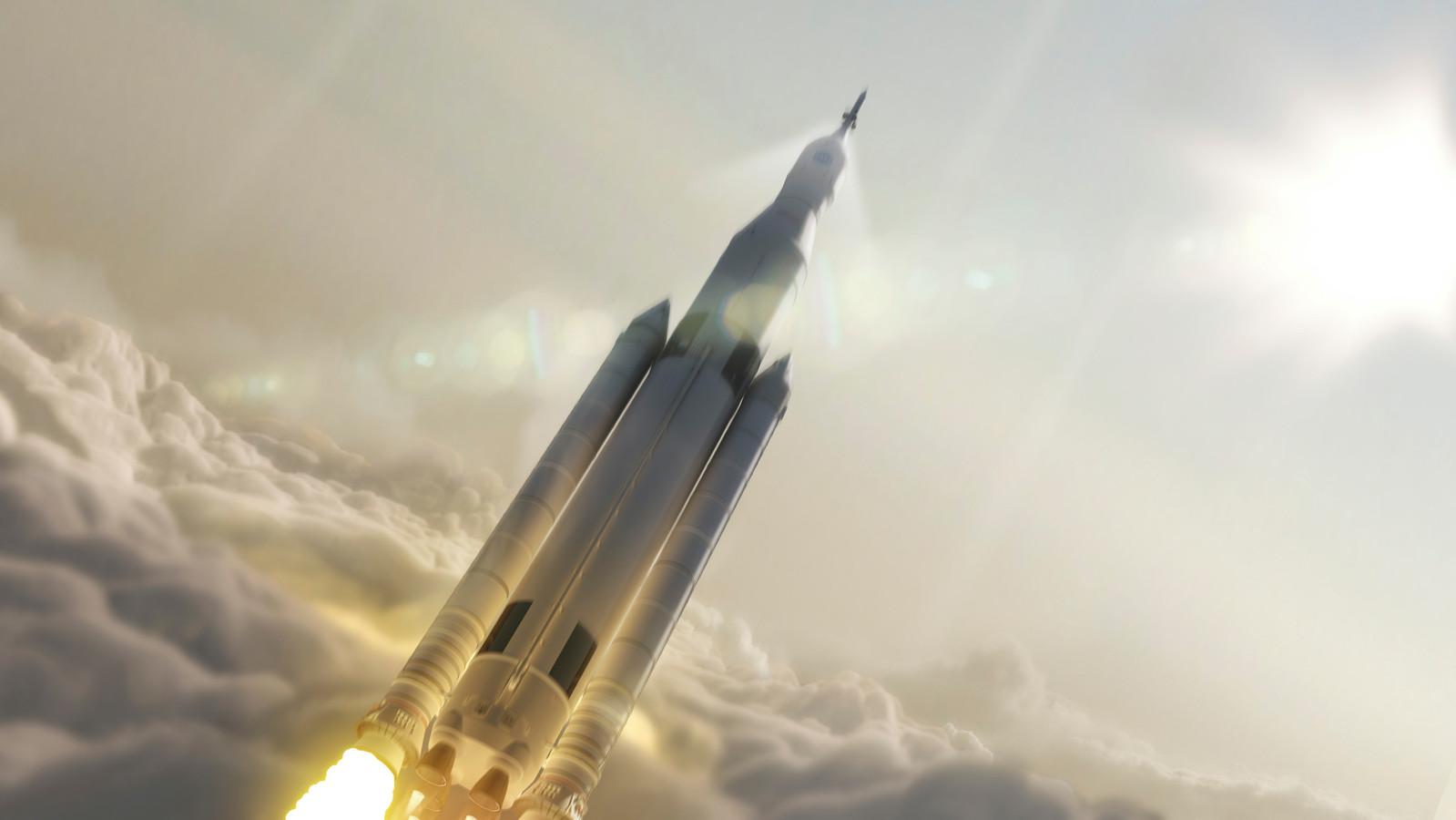 NASA werkt al jaren aan een eigen superzware raket, zoals deze artist impression uit 2014 laat zien.
