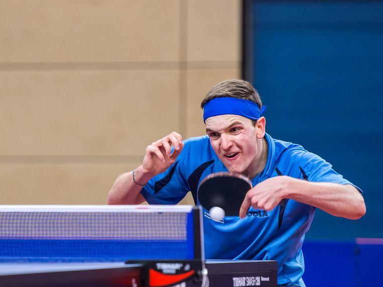 Rajko Gommers tijdens de Finale NK tafeltennis enkel. Beeld anp