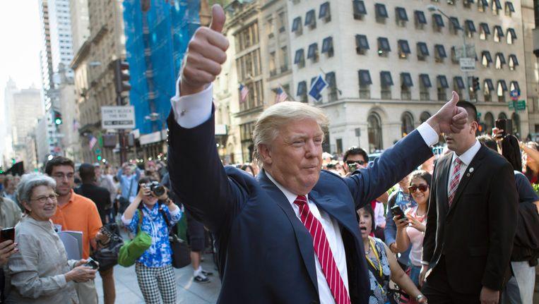 Donald Trump won op Super Tuesday minder dan de helft van de gedelegeerden, met stemmenpercentages rond de 35 procent. Beeld ap