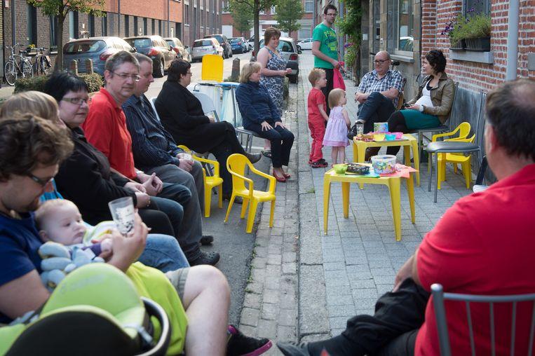 Ook in de Wittebroodstraat in Mechelen kwamen buren samen.
