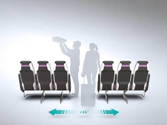 De nieuwe krimpende stoelen verdubbelen de ruimte in het gangpad.