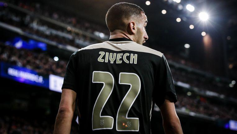 Hakim Ziyech in de wedstrijd tegen Real Madrid Beeld BSR Agency