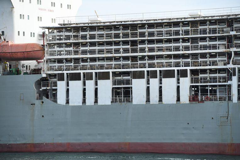 Het schip Bader III in de haven van Adelaide waarop levende dieren vervoerd worden. De nieuwe regels zijn ingevoerd naar aanleiding van videobeelden begin april waarop te zien was hoe 2400 schapen op een vrachtschip stierven. De dieren kwamen vermoedelijk om door de extreme hitte.