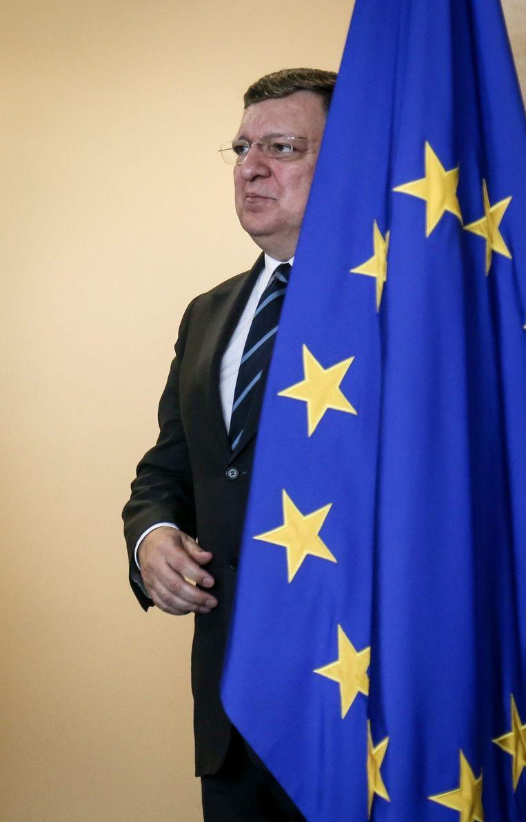 De kleuren van de vlag mogen wat Barroso betreft anders. 'Dat blauw en geel vloekt met elkaar.' Beeld epa