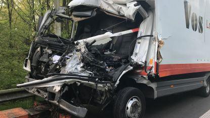 Vrachtwagen rijdt in op file op E19 in Brecht