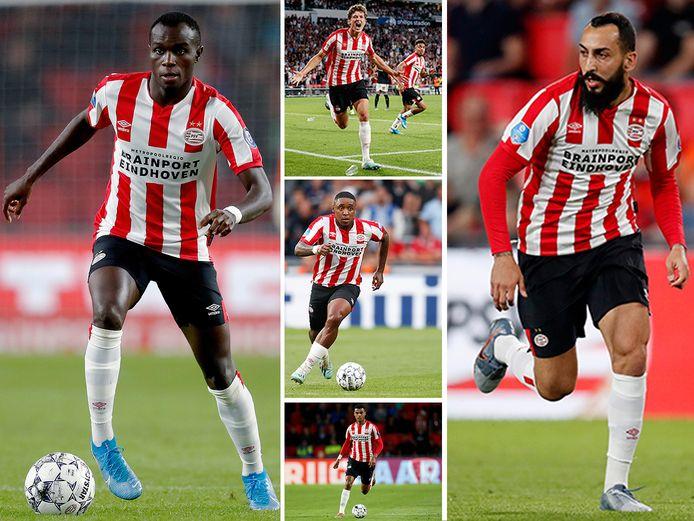 Met de klok mee, PSV-aanvallers Bruma, Sam Lammers, Kostas Mitroglou, Cody Gakpo en Steven Bergwijn.
