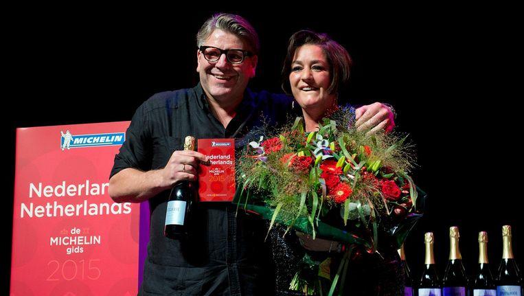 Jonnie en Therese Boer van het Zwolse driesterrenrestaurant De Librije tijdens de presentatie van de nieuwe Michelin Gids 2015. De Librije behoudt zijn drie sterren. Beeld anp