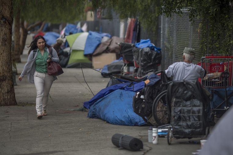 Daklozen in Los Angeles.  Beeld AFP
