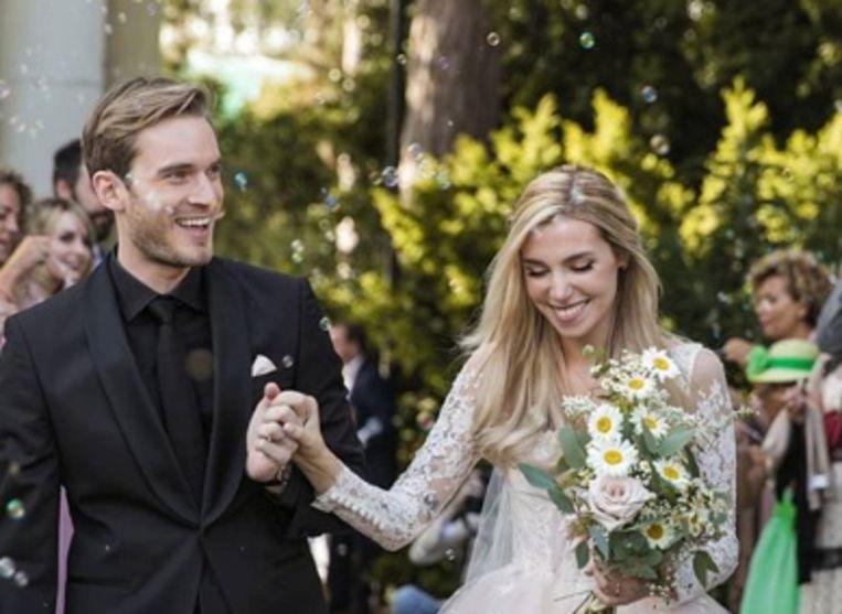PewDiePie en zijn echtgenote.