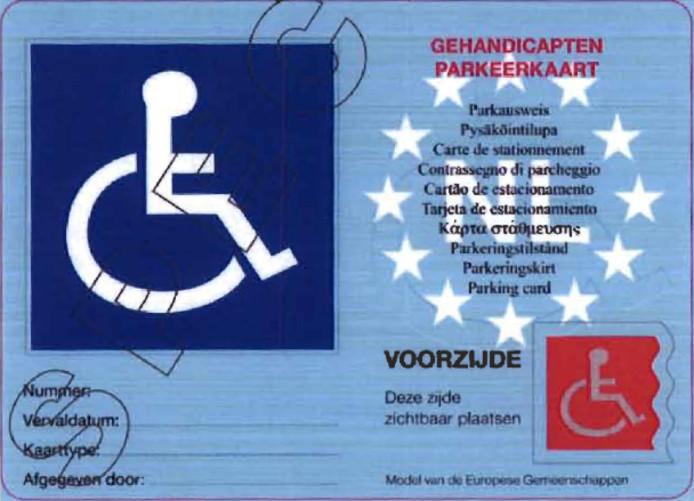 parkeerkaart gehandicapten