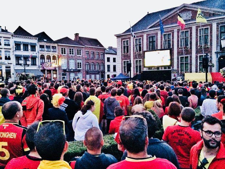 Ook op de Grote Markt in Diest staat een voetbalfeestje te wachten, zoals hier tijdens het vorige WK.