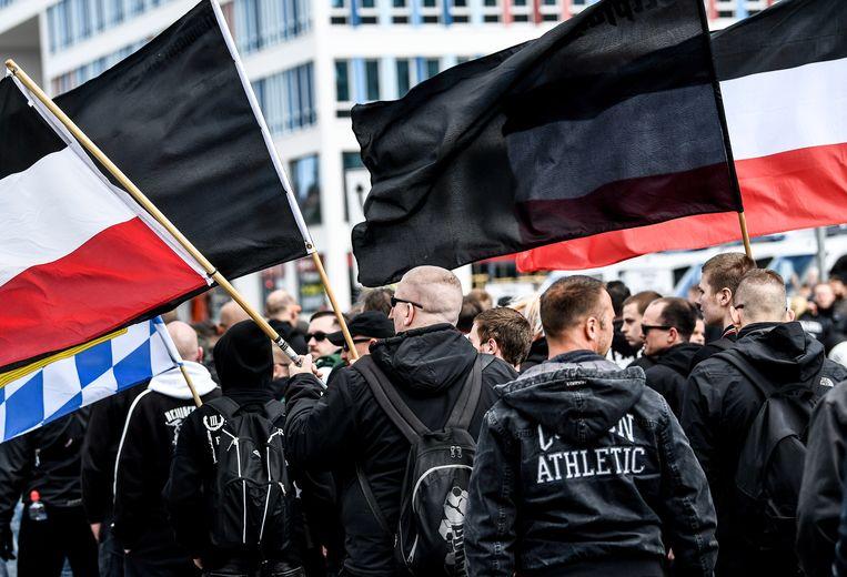Een extreemrechtse betoging in de stad Chemnitz in Saksen. Foto uit  mei 2018.
