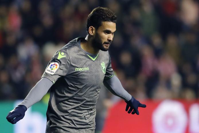 Real Sociedad-spits Willian Jose viert de 2-2.