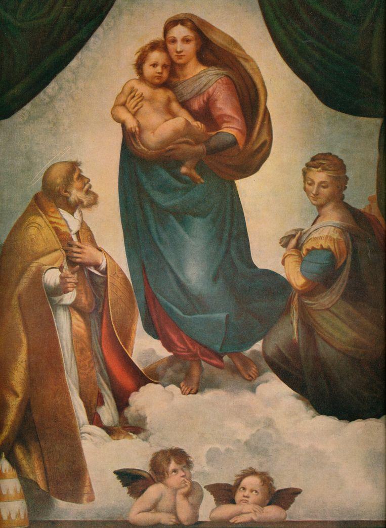 Rafaels Sixtijnse Madonna (1513), de verveelde knaapjes onderin het tafereel suggereren dat Rafael de deur naar de hemel openzette en de mensen op aarde naar binnen liet kijken.  Beeld Getty Images