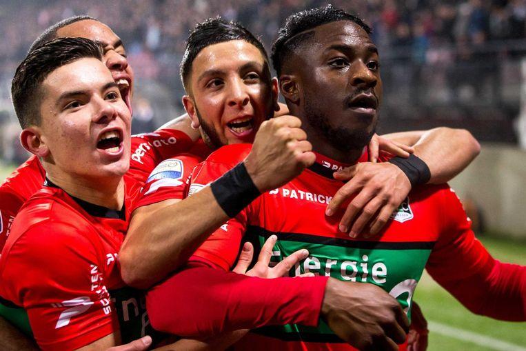 NEC-speler Kevin Mayi viert het door hem gemaakte eerste doelpunt tegen ADO Den Haag. Beeld anp