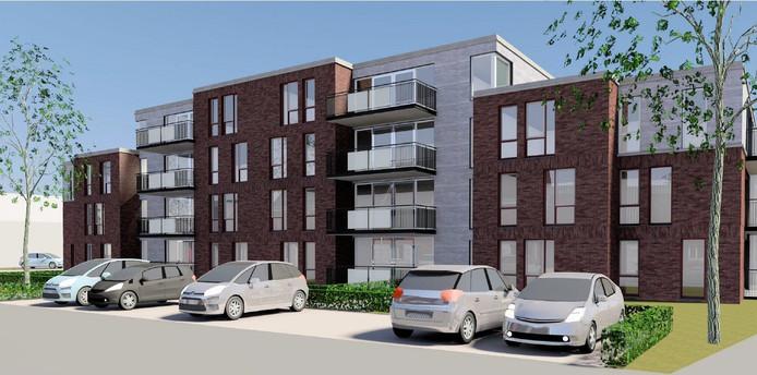 Het nieuwe complex dat tussen de Drossard Meijerstraat en de Dr. Douvenstraat in Gemert wordt gebouwd.